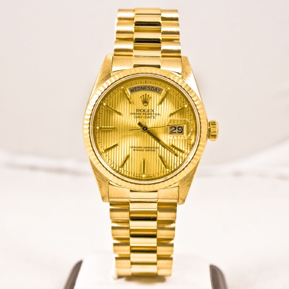 Rolex Mens President 18k Gold 18038 Day Date Champagne