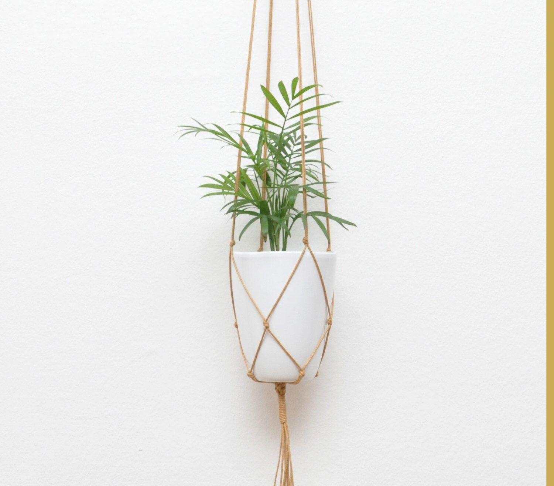 GOLD BROWN modern macrame hanging flower pot hanging planter waxed ...