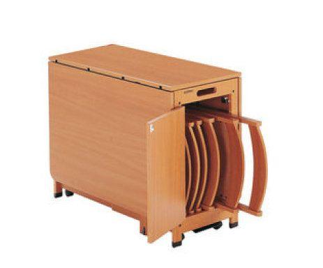 Mesa plegable blanca con sillas dentro todo en uno for Mesas y sillas de madera para cocina