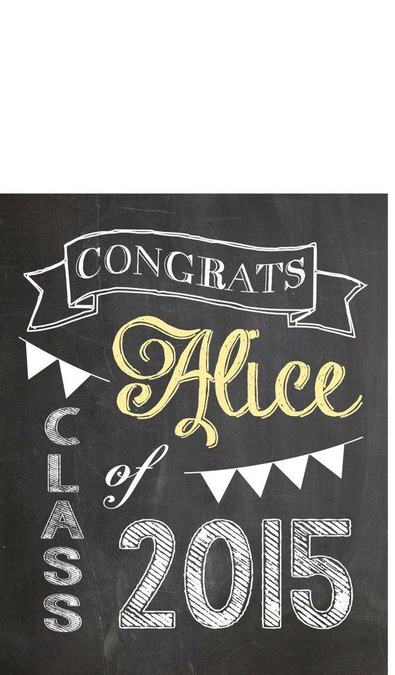 Custom Graduation Print, Vintage Chalkboard Digital File ...