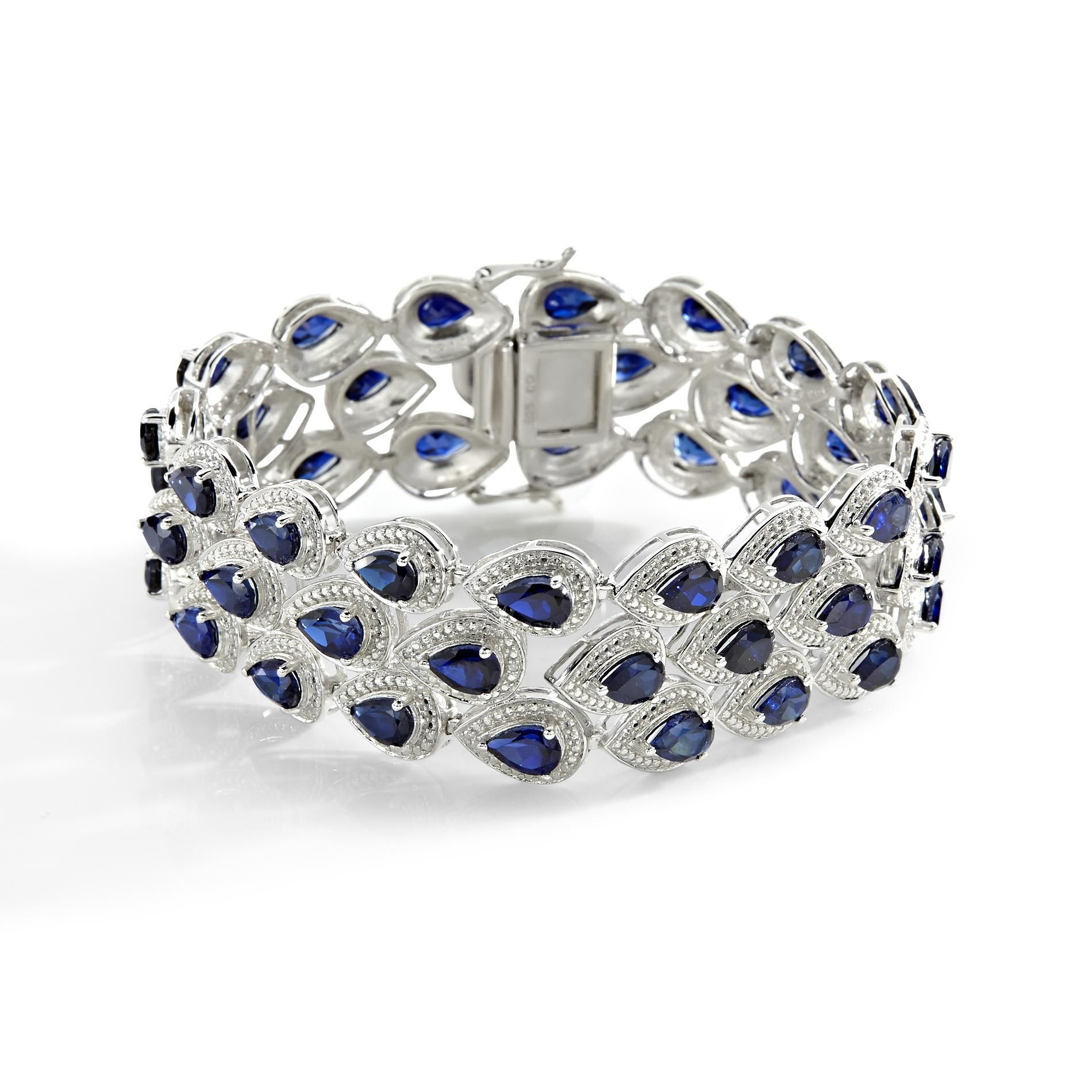 Sapphire and diamond bracelet pear shaped blue sapphire and