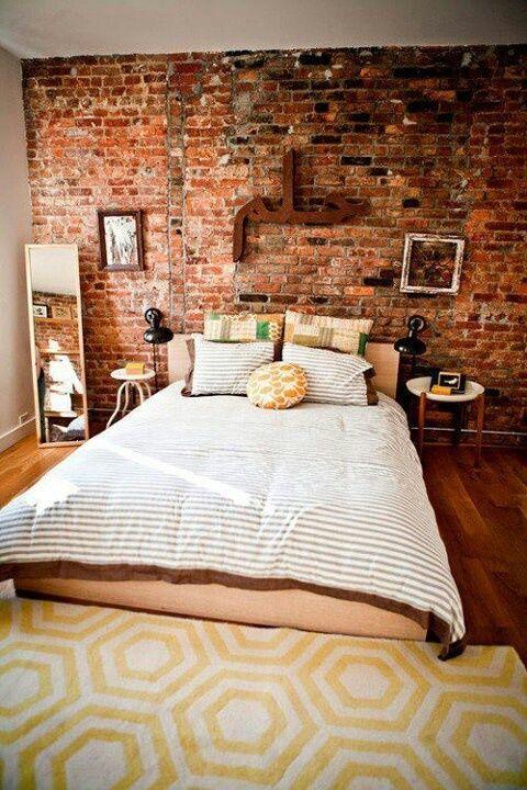 Brick wallpaper in a bedroom for Black brick wallpaper bedroom