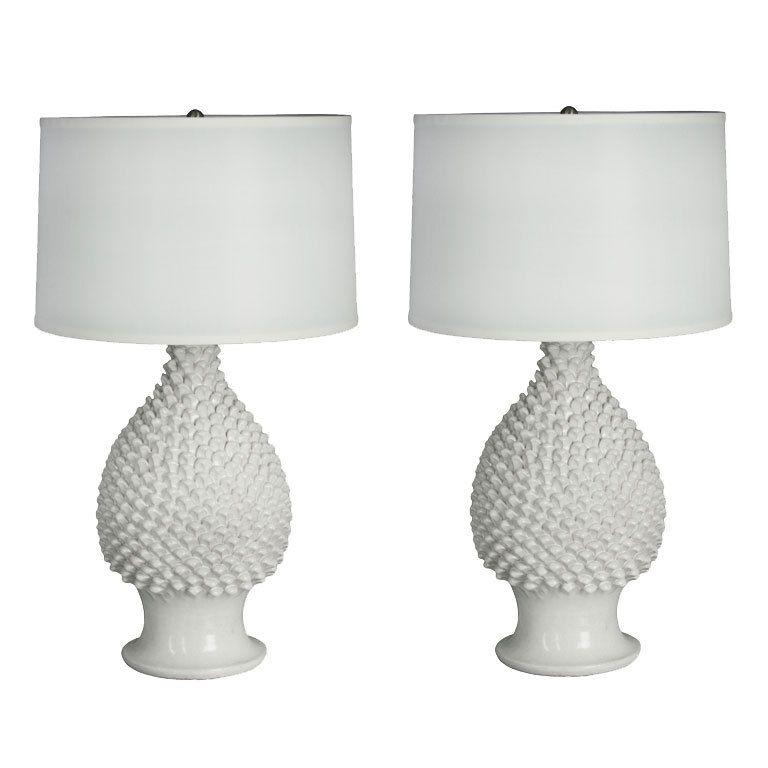 Good 1stdibs | Pair Of Ceramic Pineapple Lamps By Fantoni