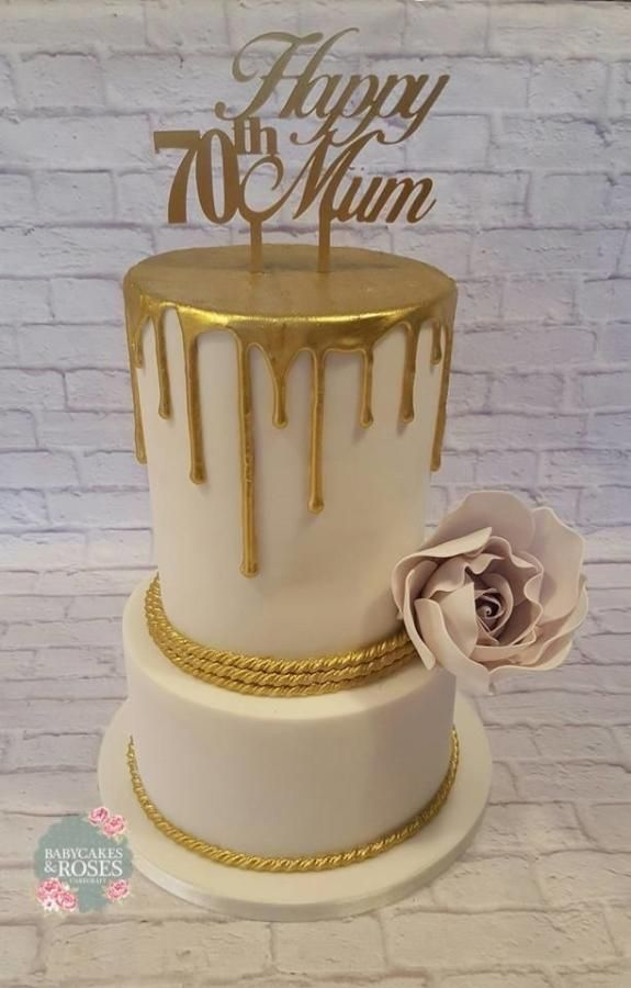 Pleasant Gold Handpainted Drizzle Cake By Babycakes Roses Cakecraft With Funny Birthday Cards Online Overcheapnameinfo