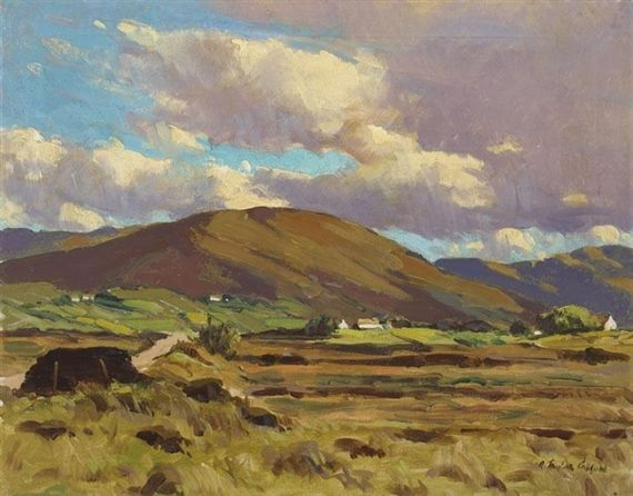 Artwork by Robert Taylor Carson, LANDSCAPE WITH COTTAGES, Made of oil on canvas