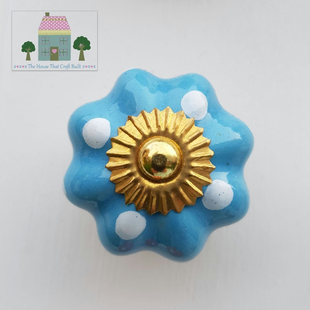 Fluted blue with white spot ceramic drawer knobs pulls cupboard door ...