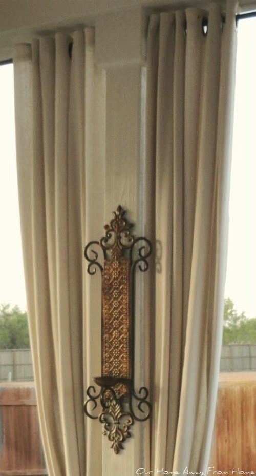 No Sew Outdoor Drop Cloth Curtains With Grommets Pull Chain Through Bottom Hem For A Weight