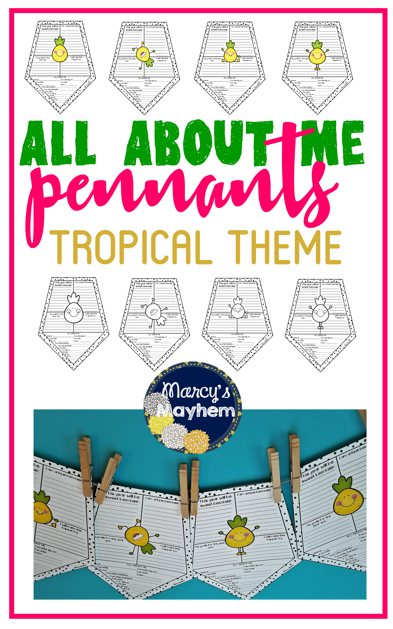 Pineapple All About Me Pennants Back To School Writing