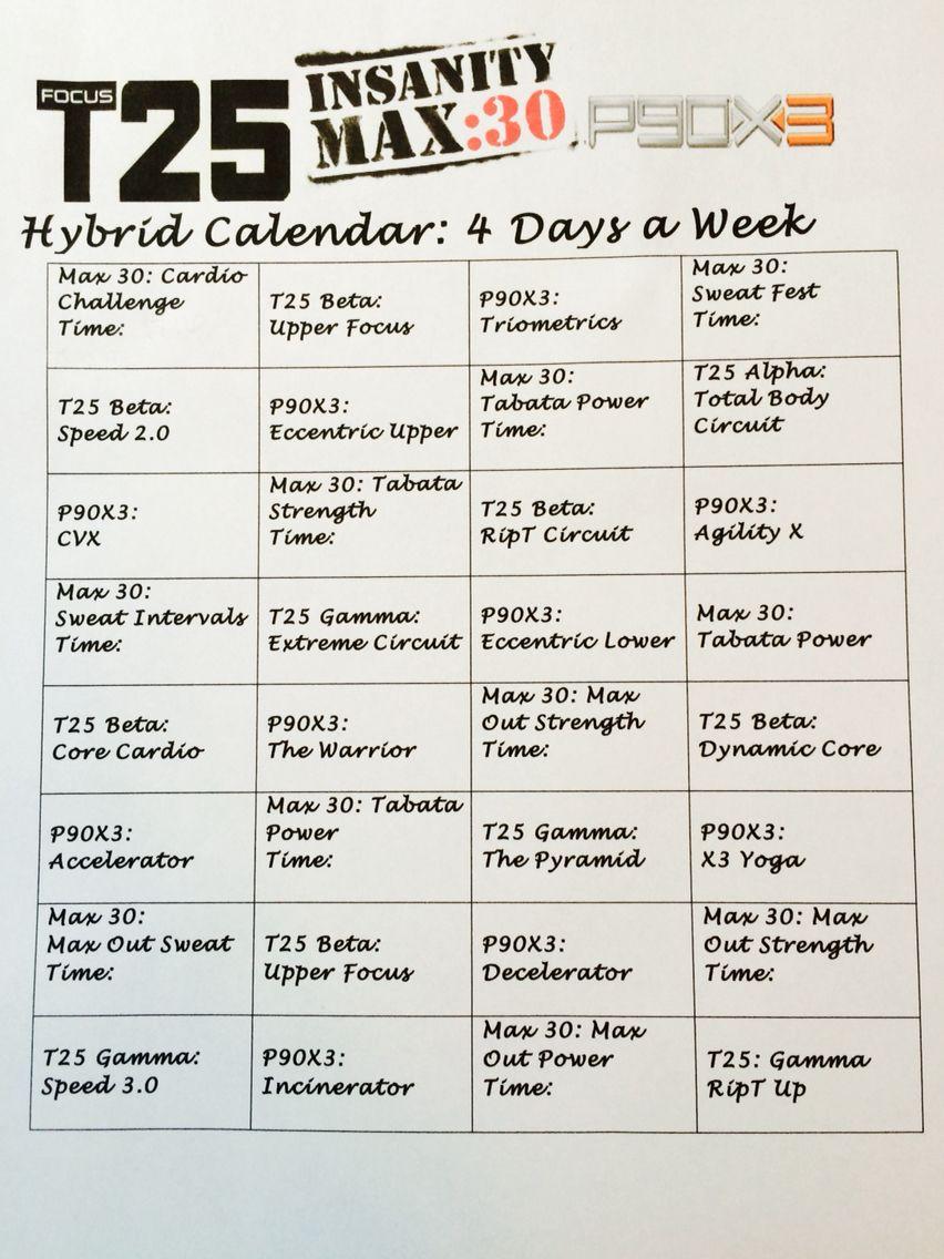 T Insanity Max  T Hybrid Calendar  Fitness