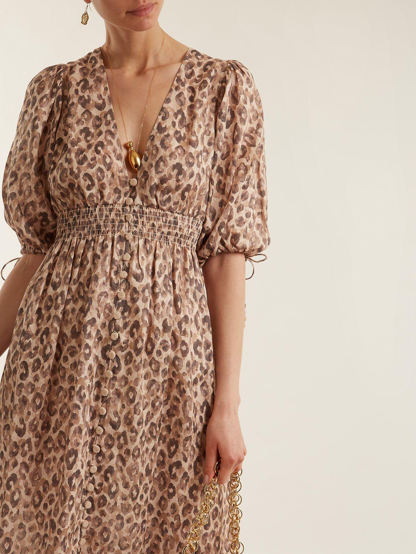 Leopard Linen DressZimmermann com Print Matchesfashion Melody ymvnNP8wO0