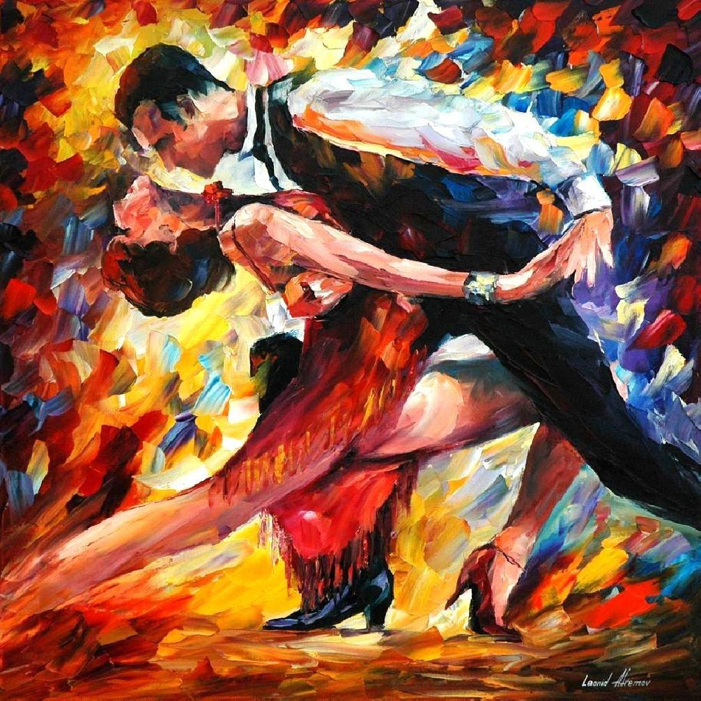 tango of passion ( by Leonid Afremov)  Leonid Afremov 는 1950년대에 태어난 현대 러시아 출신 화가이다. 그의 약간 거칠고 강렬하고 독특한 작품 스타일은 현대 인상파라는 느낌을 준다. 그는 스스로 붓이 아닌 팔레트, 나이프, 페인트와 사랑에 빠졌다고 얘기할 정도록 유화를 통해 자신의 작춤을 표현했다.   =============================== 이 그림은 작가의 강렬한 터치가 작품의 제목의 일부인 passion을 더 강조해 주는 역할을 한다. 두 주인공의 주변에 다양한 색감의 강렬한 터치는 아이러니 하게도 주인공을 더욱 부각시켜준다. 작가가 묘사한 순간은 엔딩 포즈를 잡는 순간인지, dance 중간에 순간인지는 불분명 하지만 그것은 중요하지 않다. 지금 그들에게는 무대위의 자신들만 존재한다고 느껴질 것이며 열정적인 사랑을 나누고 있는 것으로 보인다.
