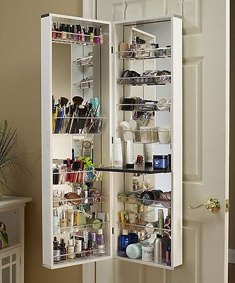 White Cosmetic Organizer Armoire/Mirror This Is A Great Idea To Organize  All Your Makeup And Other Little Things