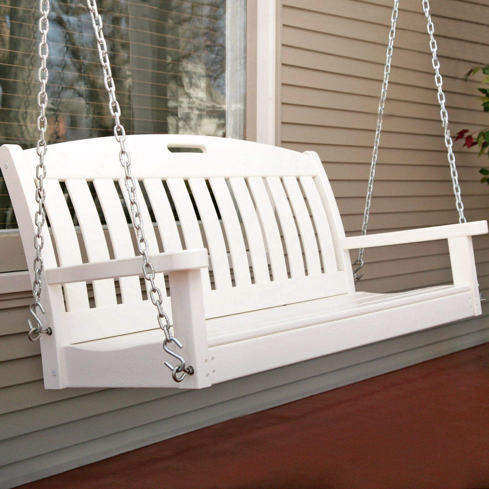 POLYWOOD Nautical 4 ft Recycled Plastic Porch Swing White
