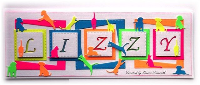 Childrens fun shaker neon card, dogs and cats, stitched squares