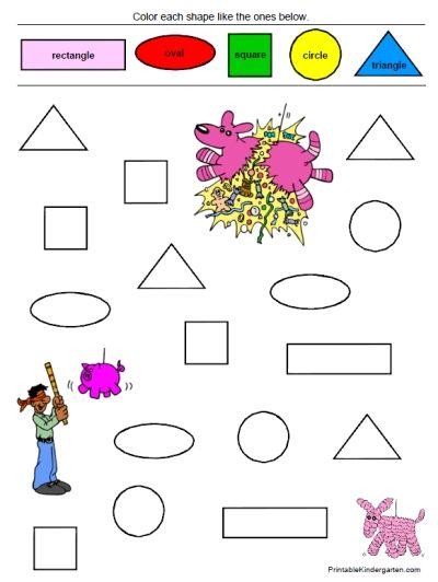 unique worksheets shapes colors for prk k 35 pages only - Color Worksheets Kindergarten