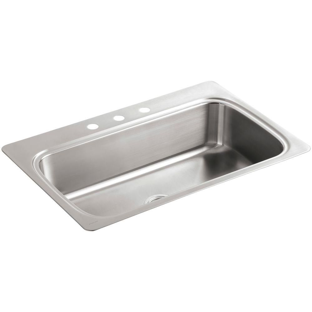 Kohler Verse Drop In Stainless Steel Silver 33 In 3 Hole Single