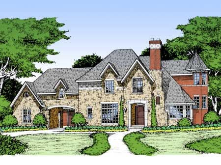 Plan 15367hn guest bedroom or in law suite sitting area for French country house plans with porte cochere