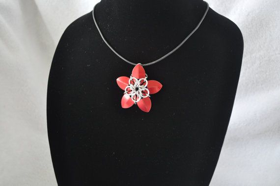 Scale Flower Pendant on Cord Necklace  Simple by StormcrowDesigns, $8.00