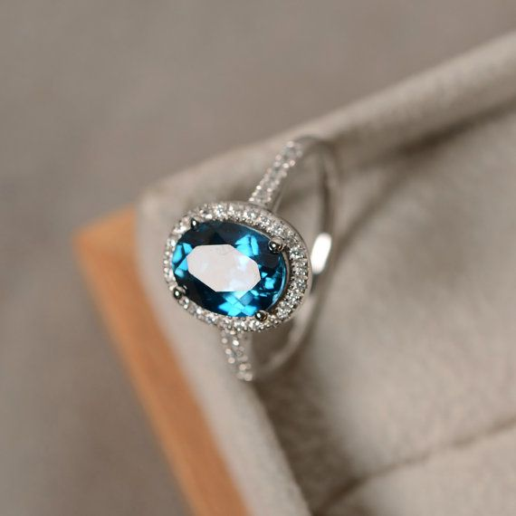 Details about  /Blue Topaz Ring 925 Sterling Silver Topaz Ring Brush Finish Adjustable Ring-S340