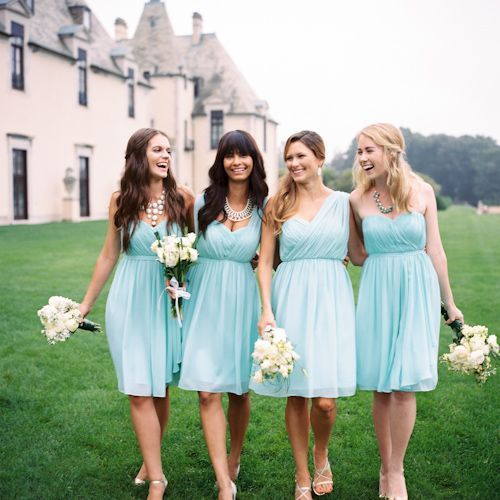 Robins Egg Blue Bridesmaid Dresses With Different Neck