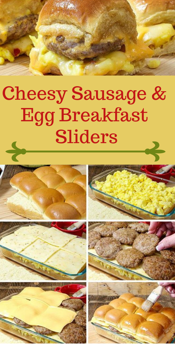 Cheesy Sausage & Egg Breakfast Sliders #dinner #egg #breakfastslidershawaiianrolls