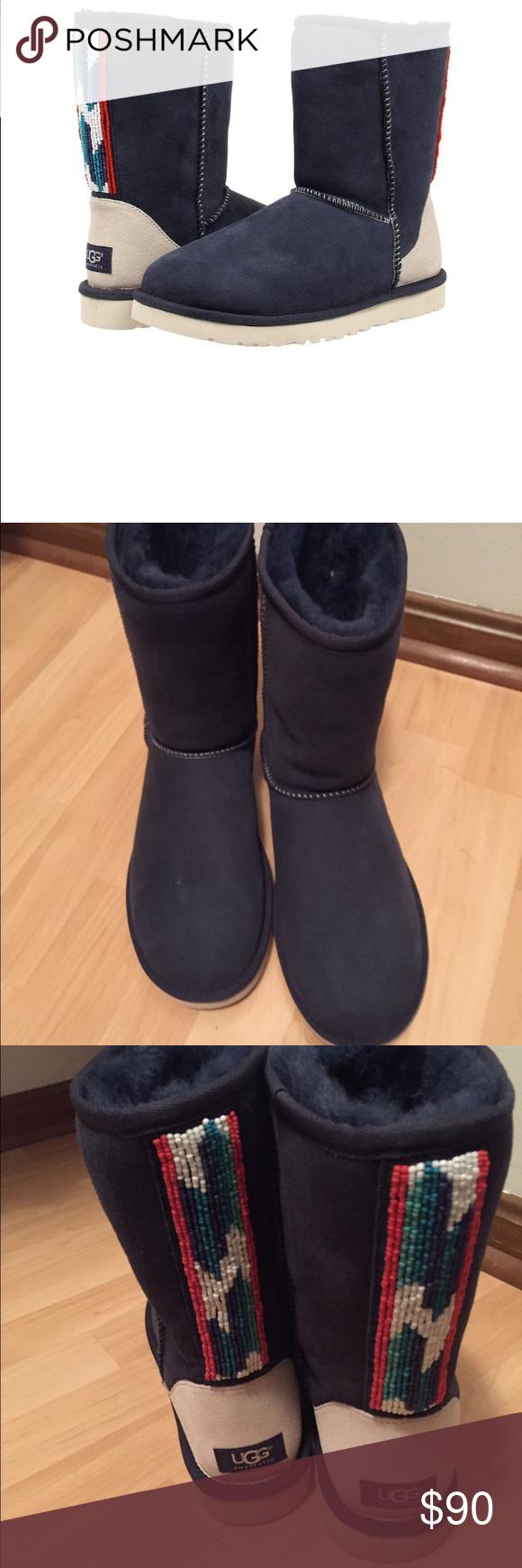 ef495c0ff70 Ugg classic short 10 serape beads boots new blue New, never worn ...
