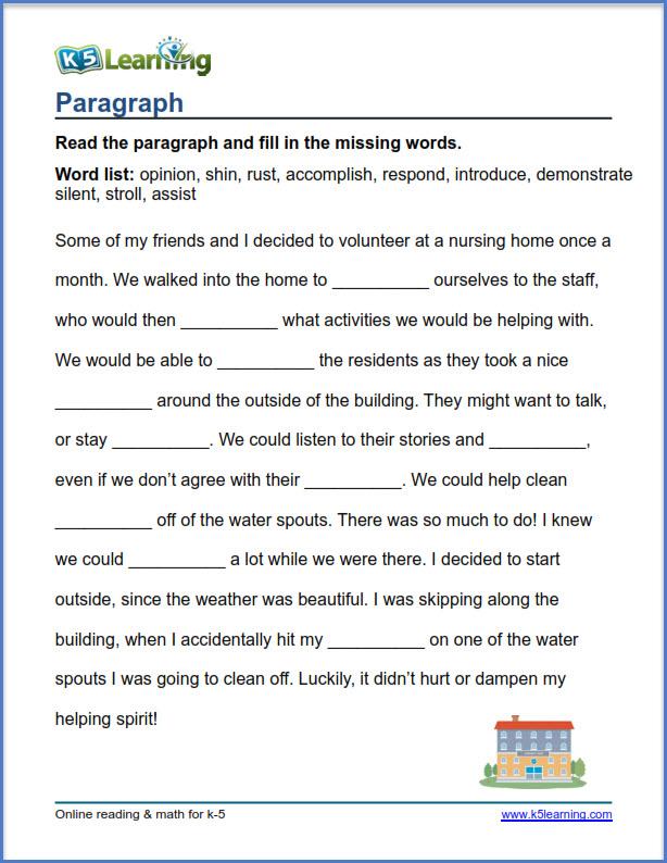 Grade 4 vocabulary worksheet paragraph K5 Learning