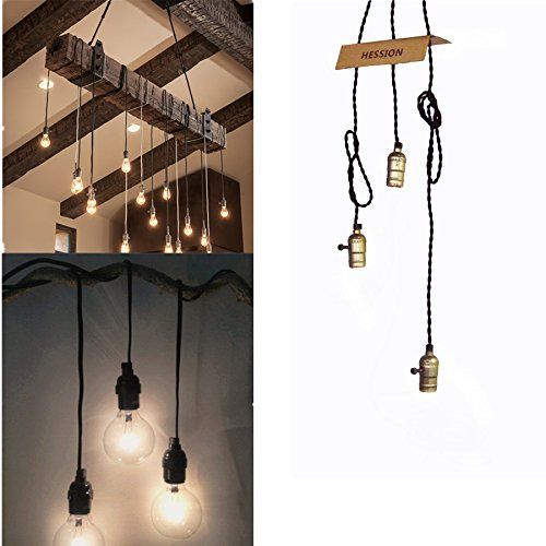 HESSION Vintage Triple Light Sockets Hanging Light Cord Plug-In Pendant Light Fixture with On/Off Switch E26/E27 Base, 16.5FT Twisted Black Textile Cord (Black) - - Amazon.com