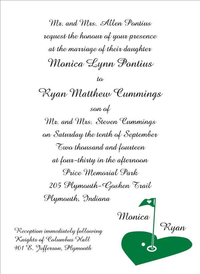Golf Themed Wedding Invitation