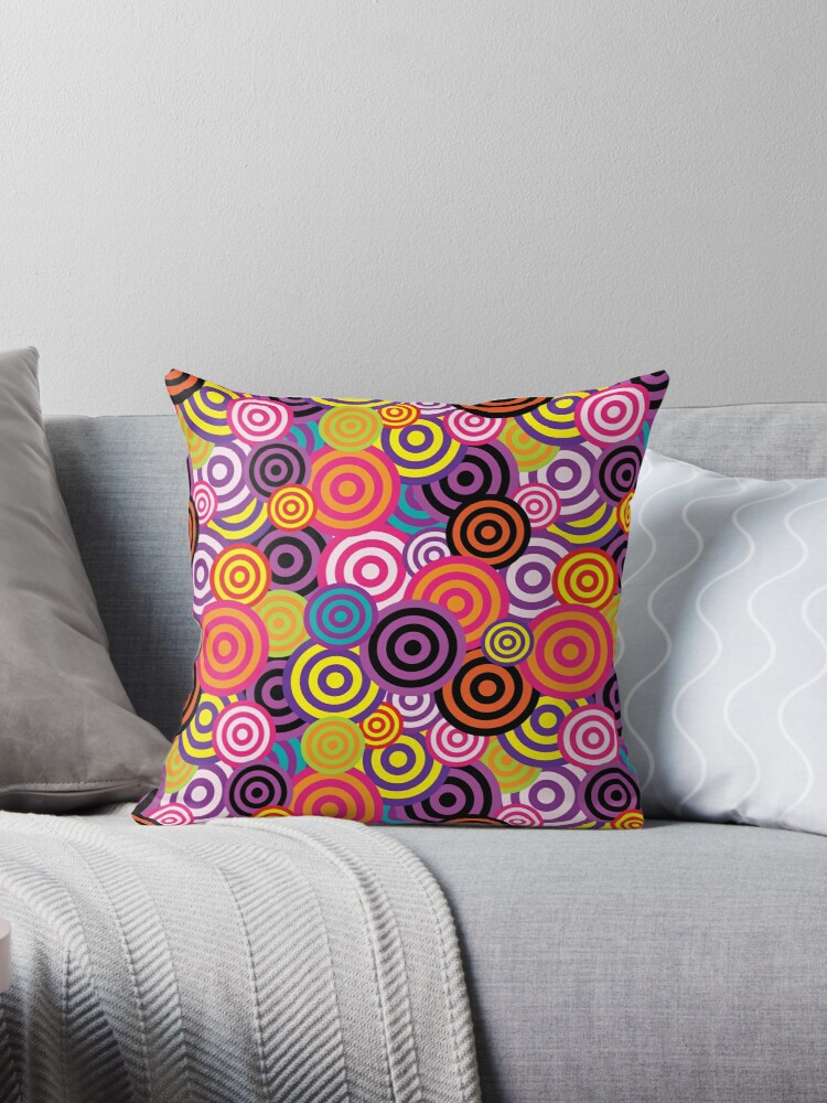 Sea Of Bright Funky Circles Throw Pillow By Madjack66 Throw Pillows Bright Decor Printed Throw Pillows