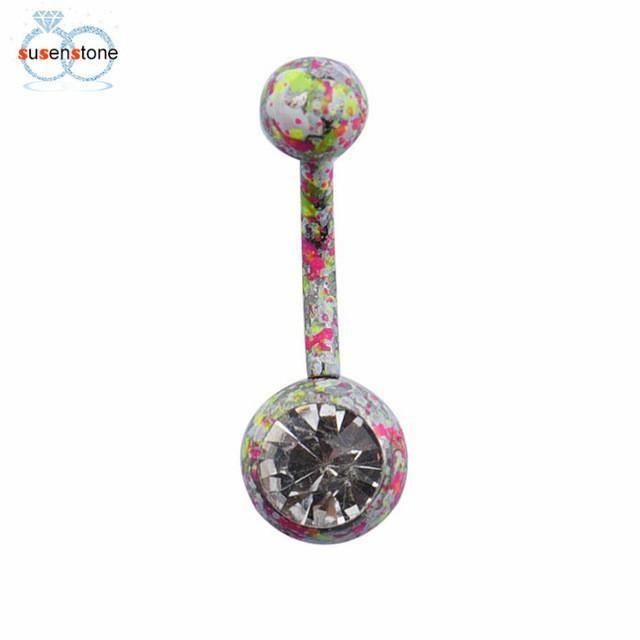 SUSENSTONE Body Piercing Jewelry Crystal Rhinestone Dangle Button Belly Navel Ring Bar