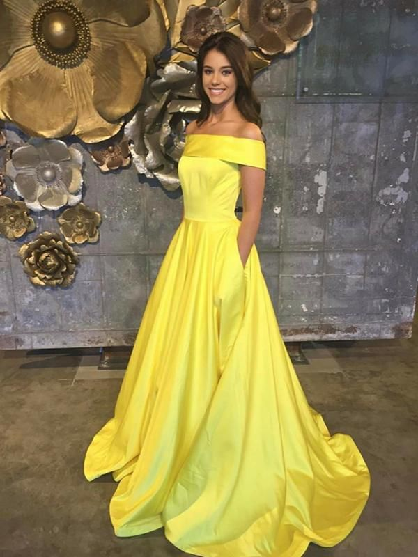 b537c9e3ee4 Chic Yellow Prom Dress Simple Modest Off The Shoulder Cheap Long Prom Dress    VB1509