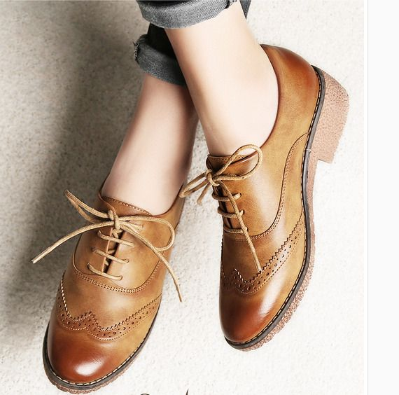 Men Dress Shoes Lace Up British Style Brogue Oxford Retro Wing Tip Round Toe New
