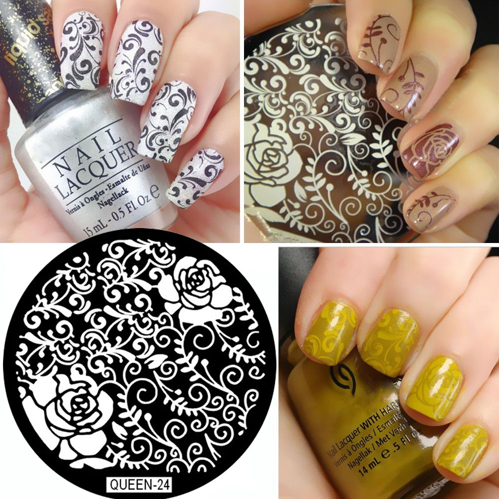 Queen vines and flowers nail art nail stamping plates template diy
