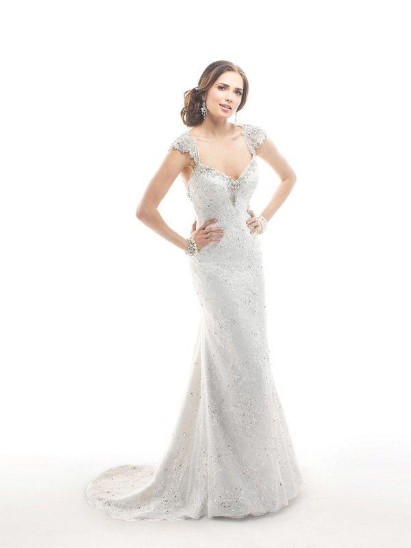 Sheath/Column V-Neck Sleeveless Beading Applique Chapel Train Satin Wedding Dresses
