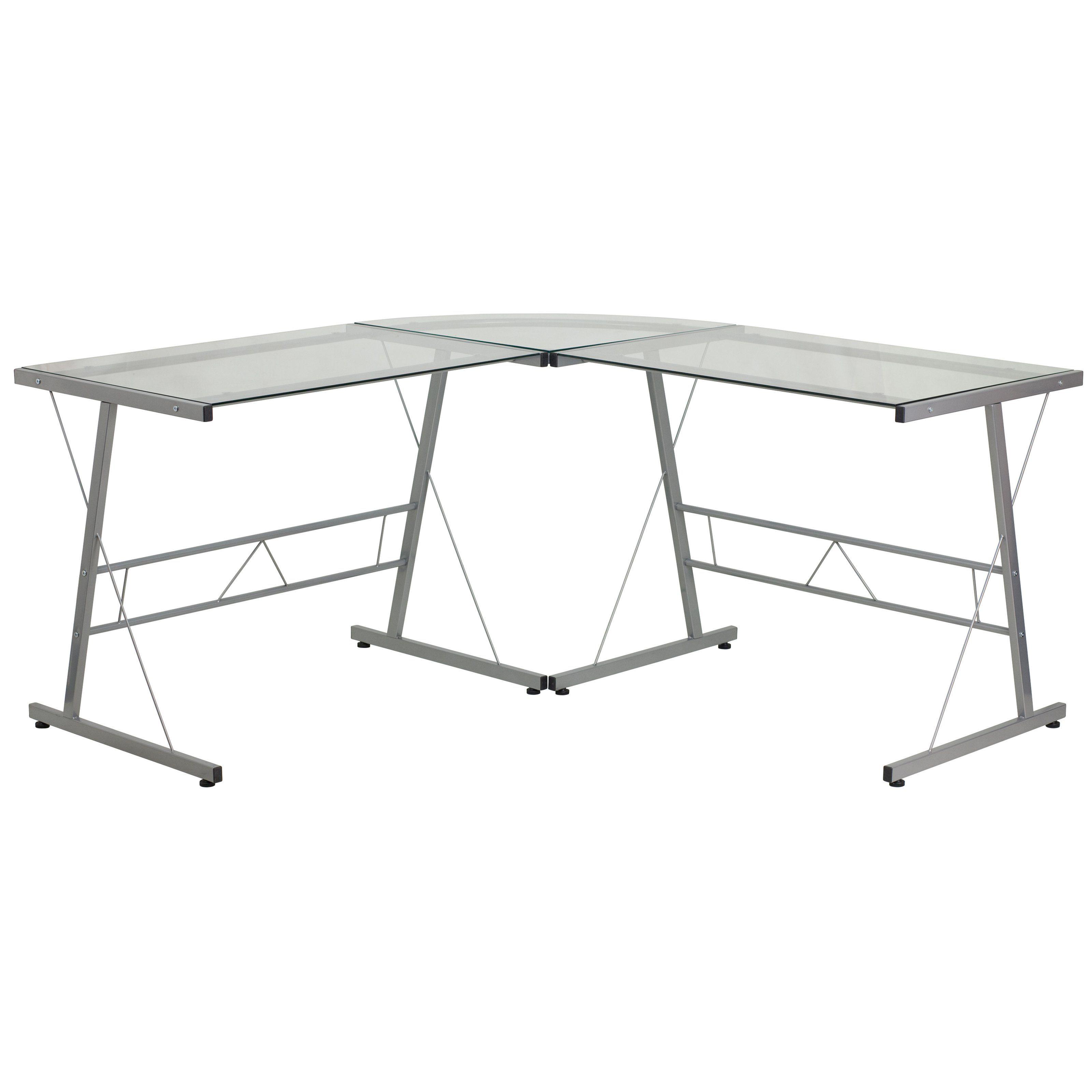 Flash furniture glass lshape computer desk with silver frame finish