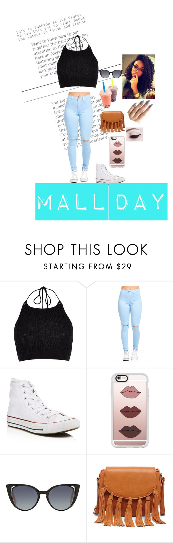 """""""Mall day"""" by royalinternetqueen2 ❤ liked on Polyvore featuring River Island, Converse, Casetify, Fendi and Sole Society"""