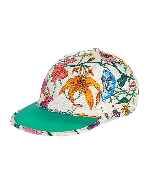 e305f065e47 GUCCI MEN S FLORA-PRINT SILK BASEBALL HAT.  gucci
