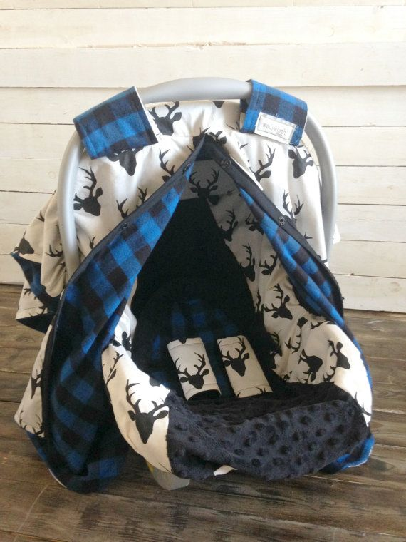 Boy Car Seat Cover Canopy Custom Deer Blue Plaid 5