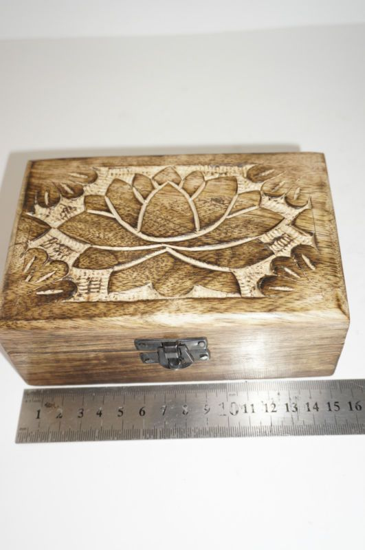 The Aries Witch Lotus Wooden Box Use For Storing Crystals