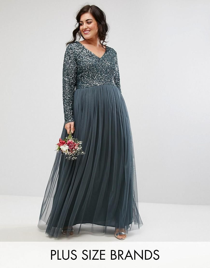 a2bff7ab4532 #ASOS - #Maya Plus Maya Plus Plunge Front Long Sleeve Maxi Dress In Tonal  Delicate Sequin And Tulle Skirt - Blue - AdoreWe.com
