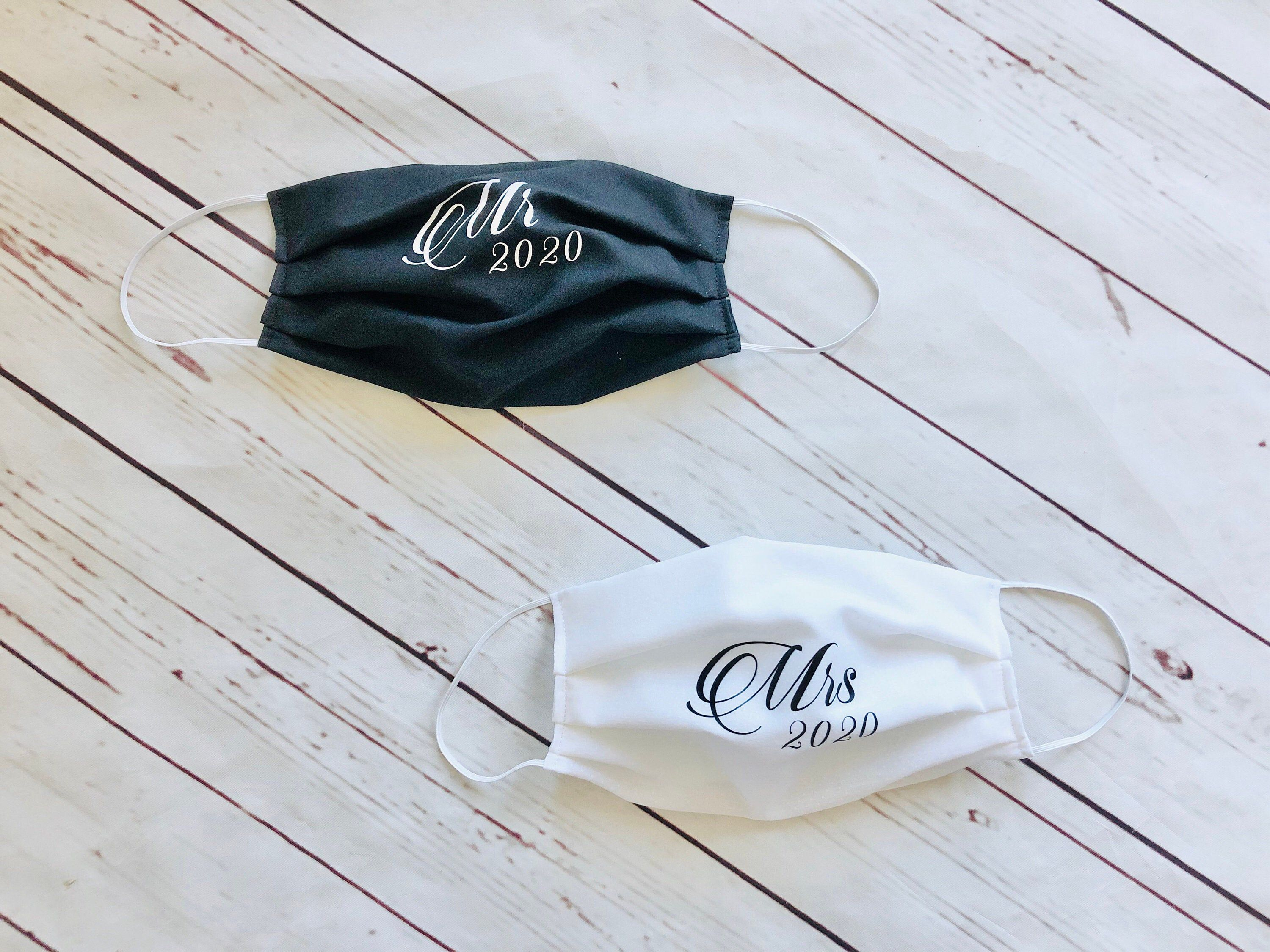 Wedding Face mask with filter pocket Bride and Groom Face