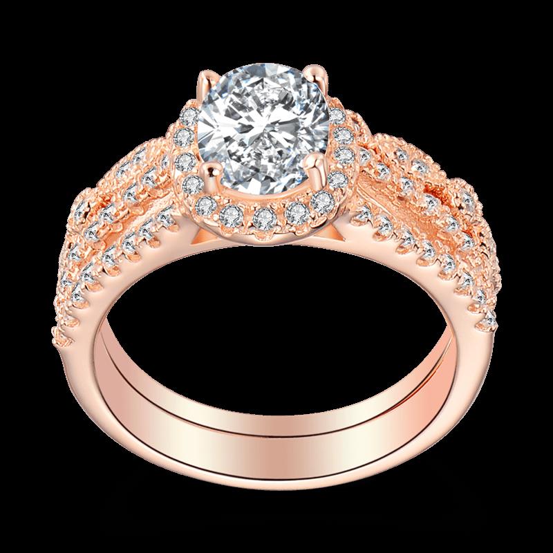 Female Romance of Love Wedding Ring Set Rose Gold
