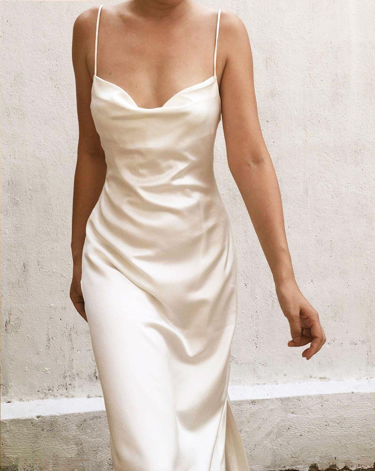 Pure White Crystal Cowl Neck Backless Silk Gown By Alashanghai Silk Studio Silk Slip Dress Slip Wedding Dress Dresses [ 1625 x 1296 Pixel ]