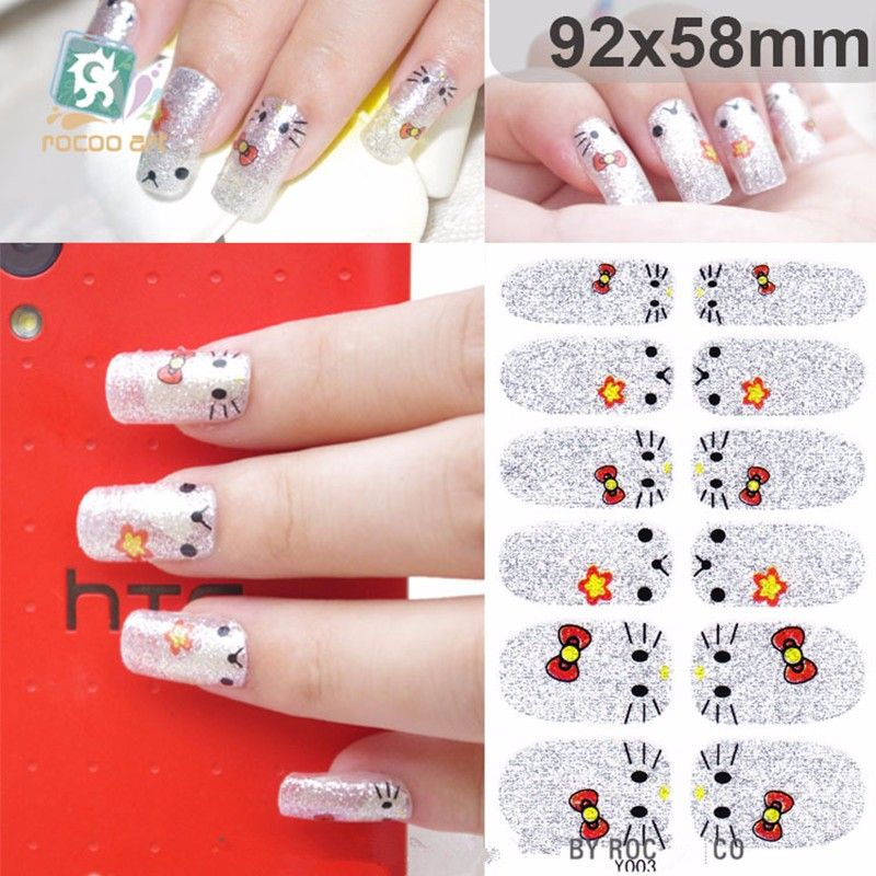 2016 3D Nail Art Foil Stickers Little Cat Design Adhesive Nail ...
