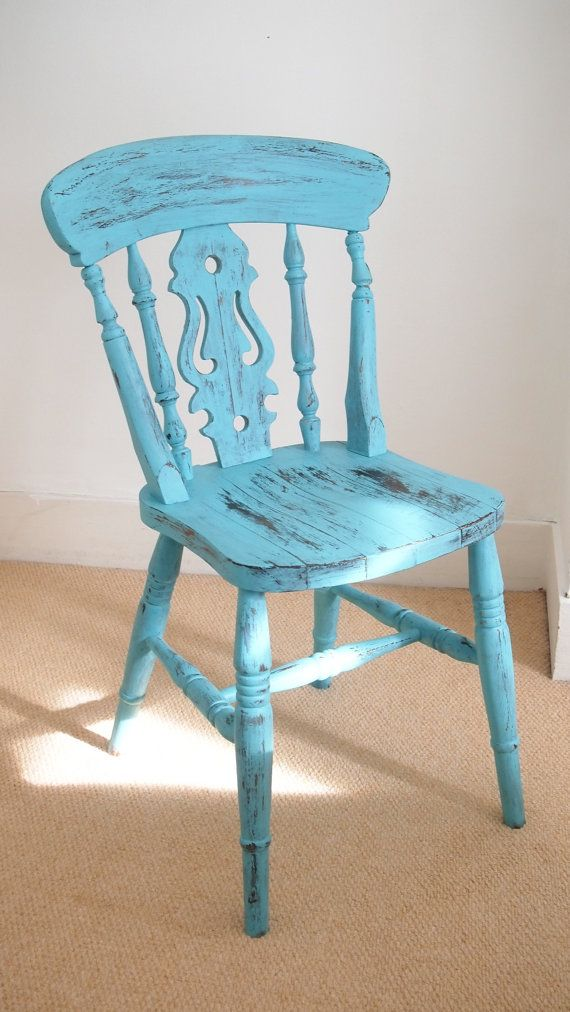 Turquoise Painted Upcycled Wooden Chair Painted Patinad