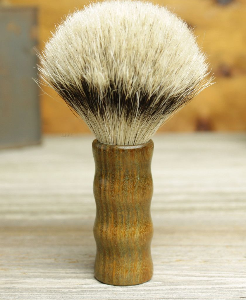 Lignum Vitae Grip style shaving brush with Silvertip Badger by Bare Knuckle Barbery
