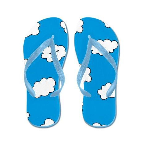 349310d87c96 Blue Sky Happy Funny Clouds Flip Flops - 17.99  flipflops  accessories   sandals  cafepress