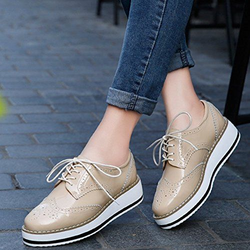 look for promo codes 100% high quality Amazon.com | YING LAN Women's Platform Lace-Up Wingtips Square Toe ...