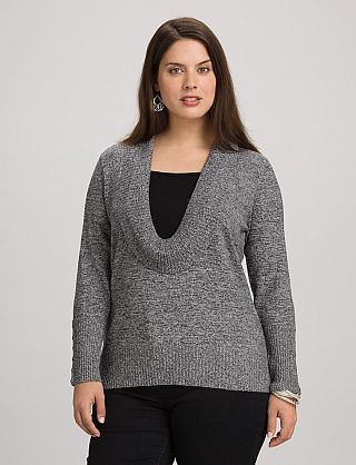 30797cc26e Plus Size Marled Inset Cowl Neck Sweater